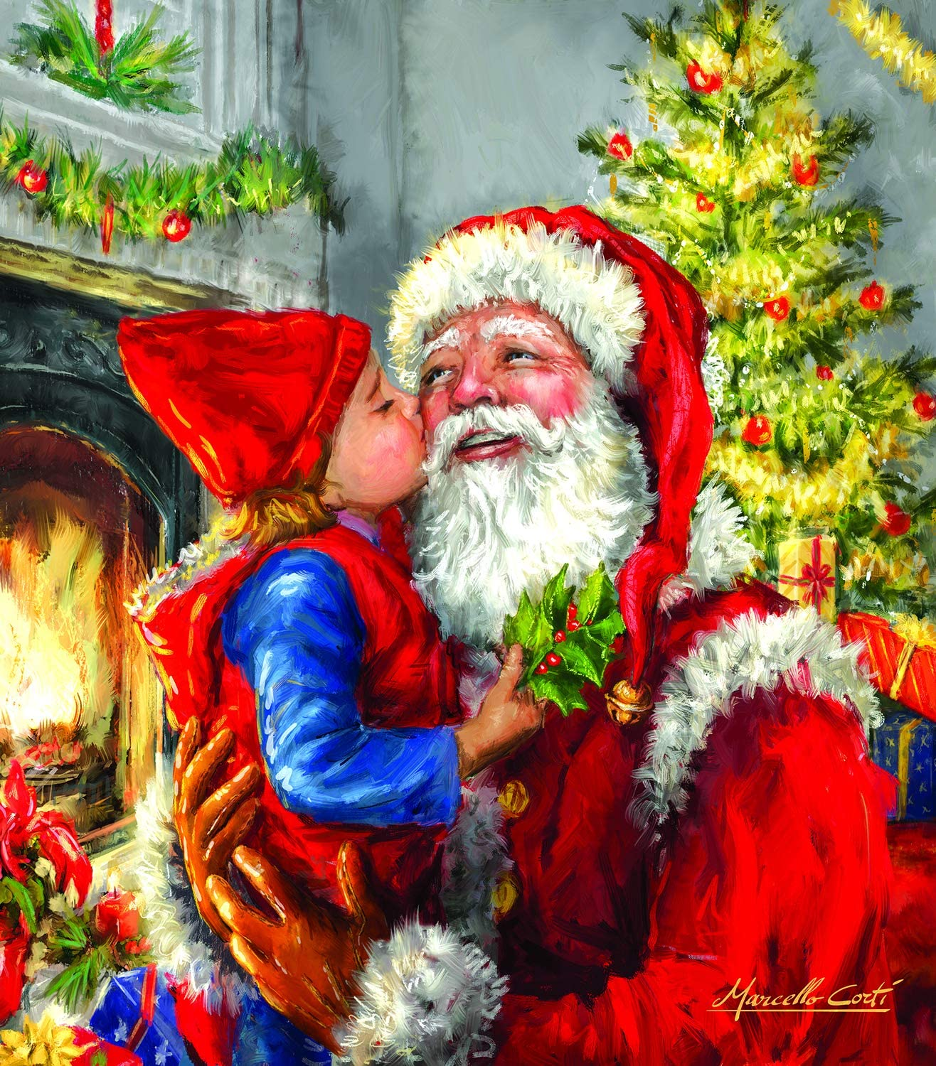 Kissing Santa 500 pc Jigsaw Puzzle by SUNSOUT INC