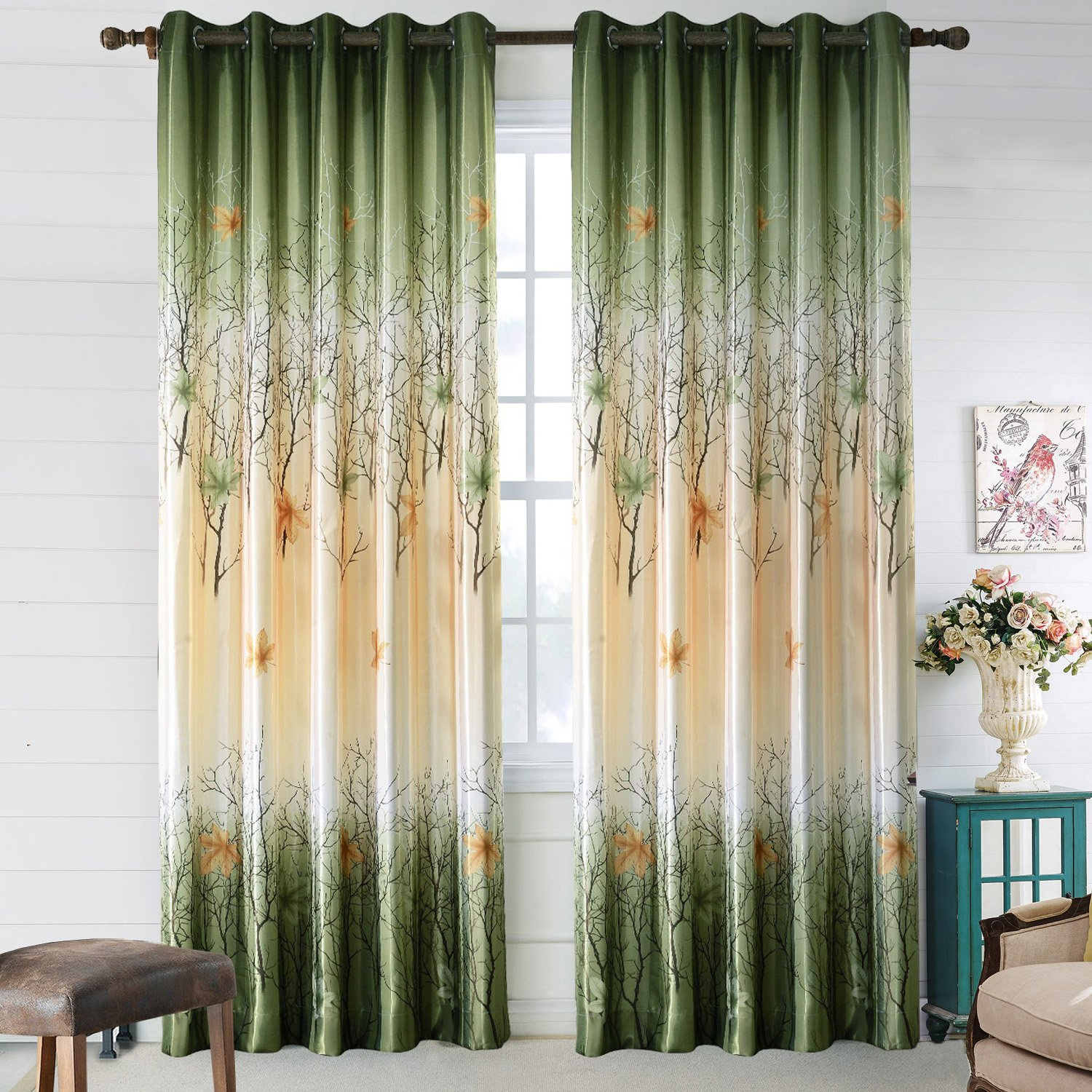 Greenyellow Leaf Tree Curtains  2 Panel Sets Maple Curtains