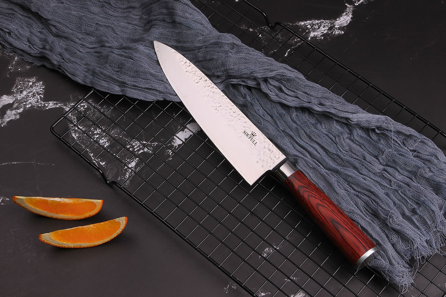 Damascus Chef Knife -Soufull 8 inch Knife Japanese VG10 Razor Sharp Well-Balanced - Stain & Corrosion Resistant Kitchen Knife - Professional Chefs Knives by Soufull (Image #2)