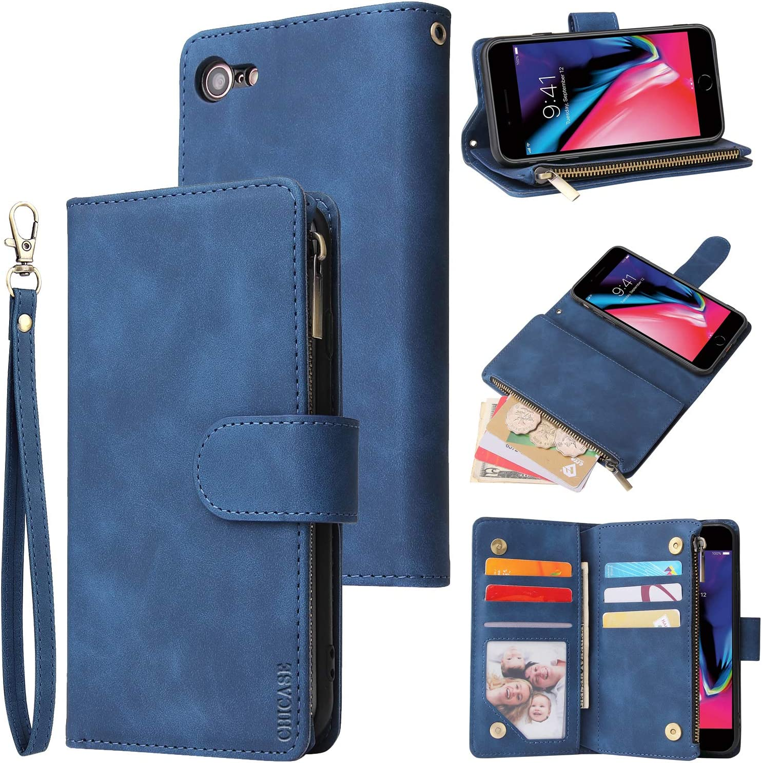 CHICASE Wallet Case for iPhone 6 Plus,iPhone 6s Plus Case,Leather Handbag Zipper Pocket Card Holder Slots Wrist Strap Flip Protective Phone Cover for Apple iPhone 6/6S Plus(Blue)
