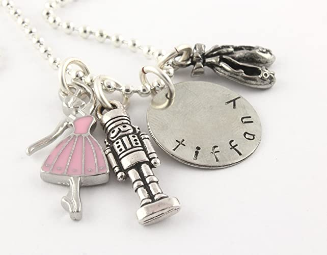 Amazon ballet nutcracker silver charm necklace personalized ballet nutcracker silver charm necklace personalized custom jewelry gift for ballerina dance nut cracker aloadofball Image collections