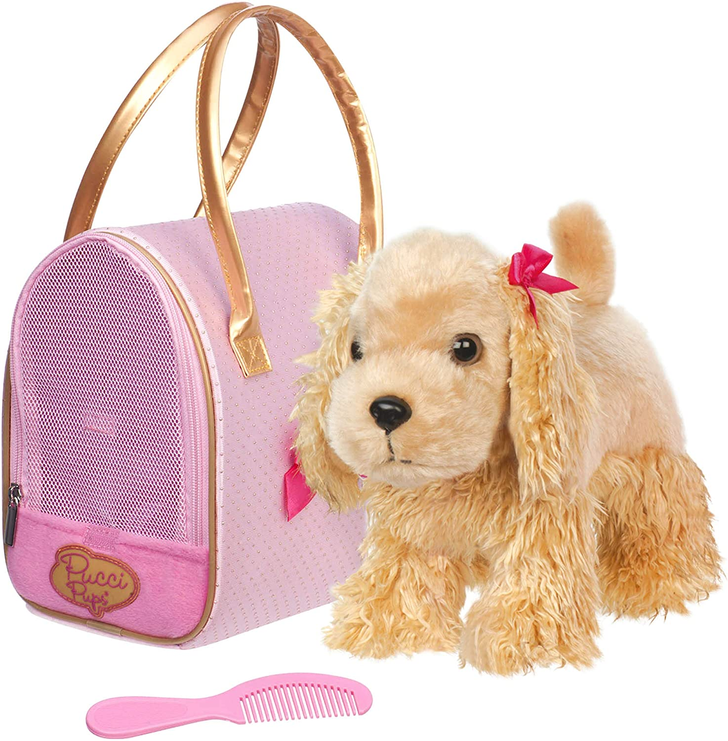 Pucci Pups by Battat – Cocker Spaniel Stuffed Puppy with Pink and Gold Dotted Stuffed Animal Bag