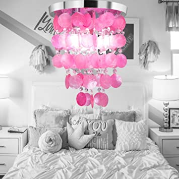 HAIXIANG Girl\'s Bedroom Crystal Shell Pendant Lamp Chandelier ...