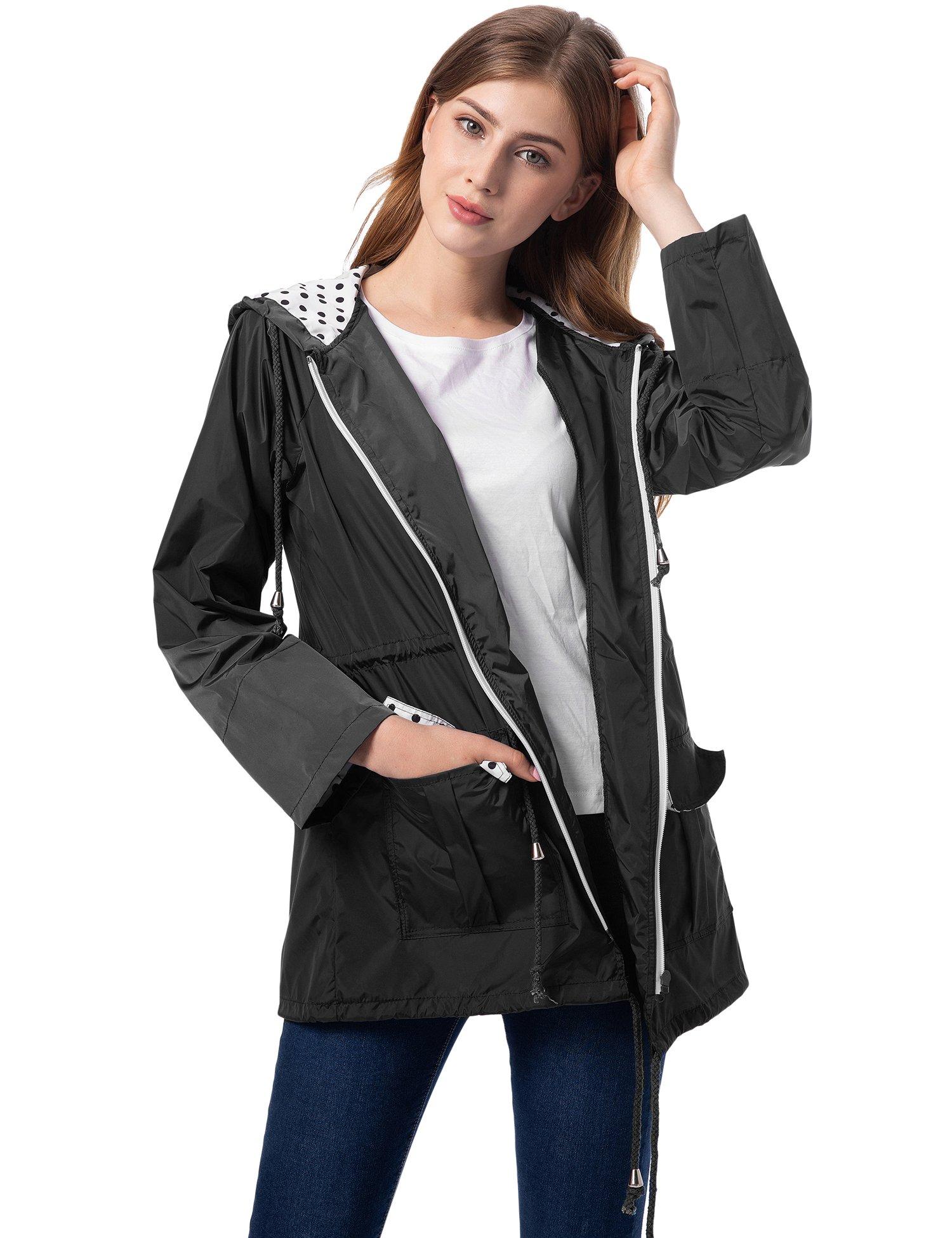 Romanstii Womens Raincoats Waterproof with Hood Outdoor Windbreaker Lightweight Rain Jacket Black M