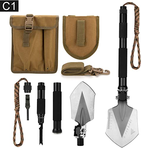FiveJoy Military Folding Shovel Multitool (C1) - Portable Foldable Survival Tool - Entrenching Backpack Equipment for Hiking Camping Emergency Car -...