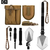 FiveJoy Military Folding Shovel Multitool (C1) - Portable Foldable Survival Tool - Entrenching Backpack Equipment for…
