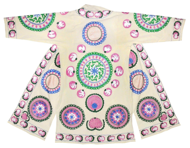 Uzbek traditional main Bukhara outwear costume kaftan caftan robe jacket coat silk embroidered B1454