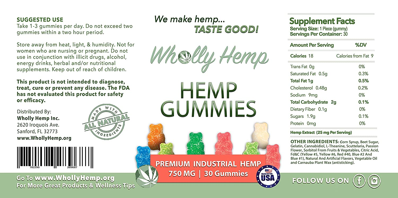 Wholly Hemp Gummies: 25mg/Hemp Oil Gummy Bear - 10 Count