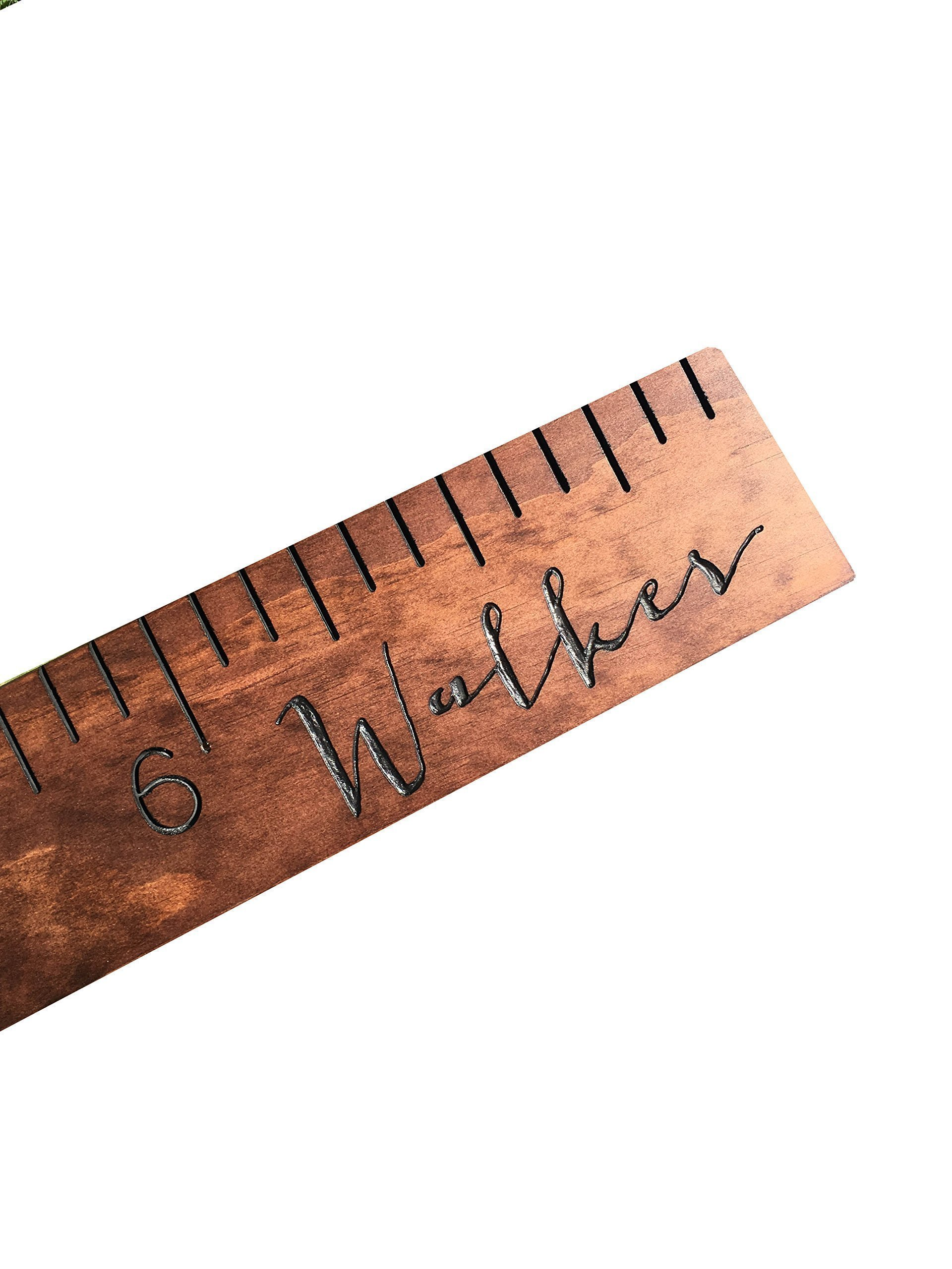 custom engraved calligraphy growth chart, personalized wooden ruler, measuring height stick, routed