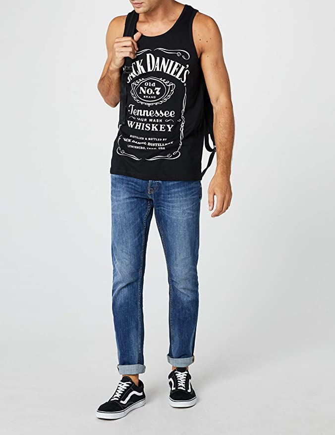 Amazon.com: Jack Daniels Adult Male Old No.7 Brand Logo Tank Top | M | Black/White: Clothing