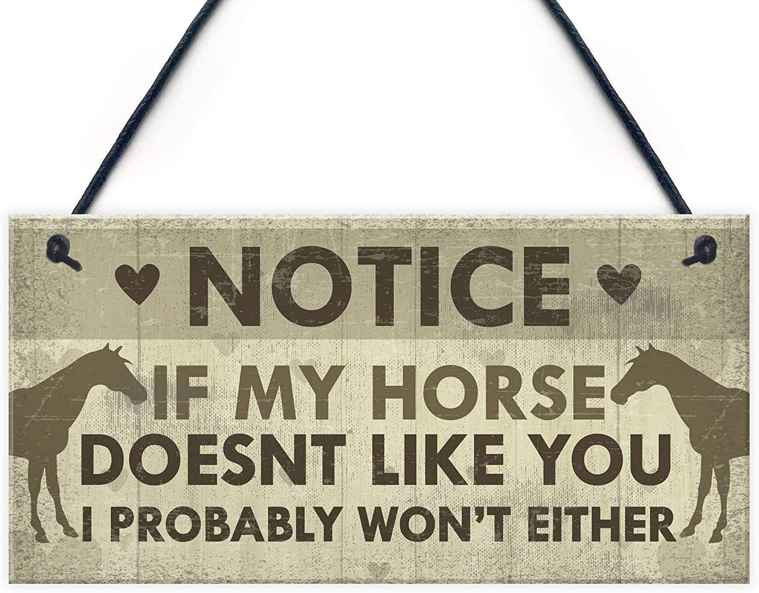 """Meijiafei Funny Horse Gifts for Women Hanging Sign Horse Gifts for Girls Horse Accessories Cute Country Home Accessory Gift Sign for Horse Lovers 10"""" X 5"""""""