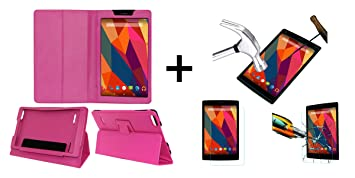 Acm Executive Case  amp; Tempered Glass Combo Compatible with Micromax Canvas Tab P681 Flip Cover Screen Guard Pink Tablet Accessories