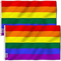 ANLEY Pack of 2 Fly Breeze 3x5 Foot Rainbow Flag 6 Stripes - Vivid Color and UV Fade Resistant - Canvas Header and…