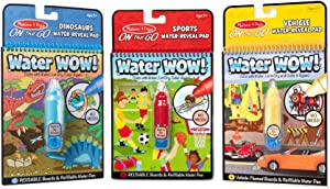 Melissa & Doug On The Go Water Wow! 3-Pack (The Original Reusable Water-Reveal Coloring Books - Sports, Dinosaurs, Vehicles - Great Gift for Girls and Boys - Best for 3, 4, 5, 6, and 7 Year Olds)