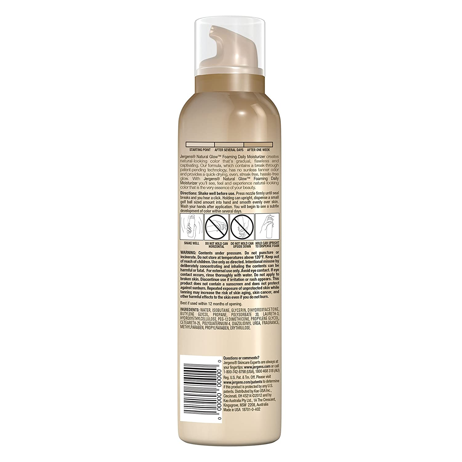 Jergens Natural Glow Foaming Daily Moisturizer for Body, Fair to Medium Skin Tones, 6.25 Ounces