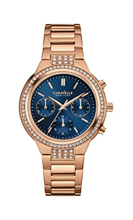 3c38a0ad5db7d Image Unavailable. Image not available for. Color  Caravelle New York  44L181 Rose Gold Blue Dial Ladies Watch