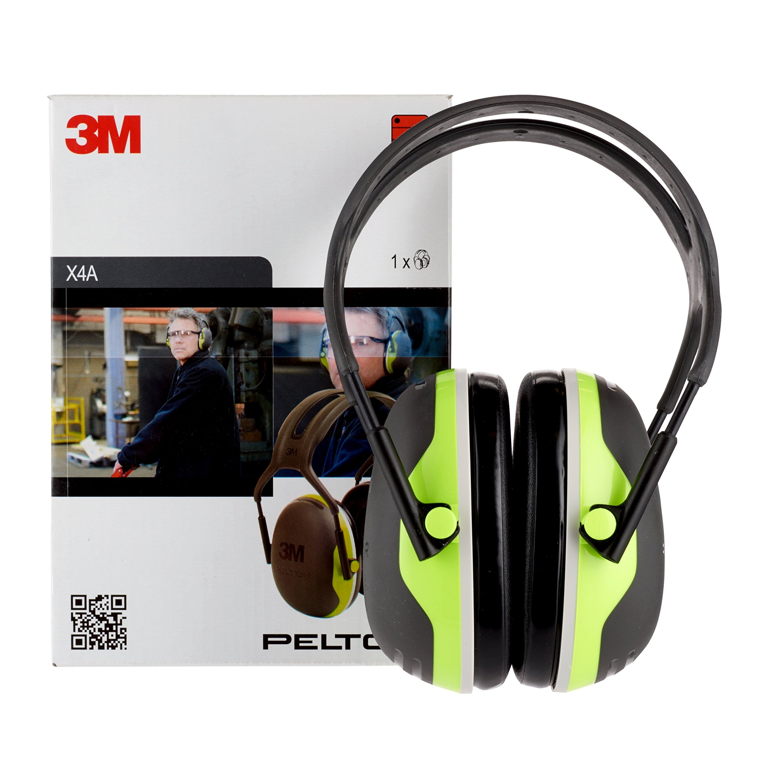 3M X4A Peltor Black and Chartreuse Model /37273, Plastic, 1'' x 1'' x 1''