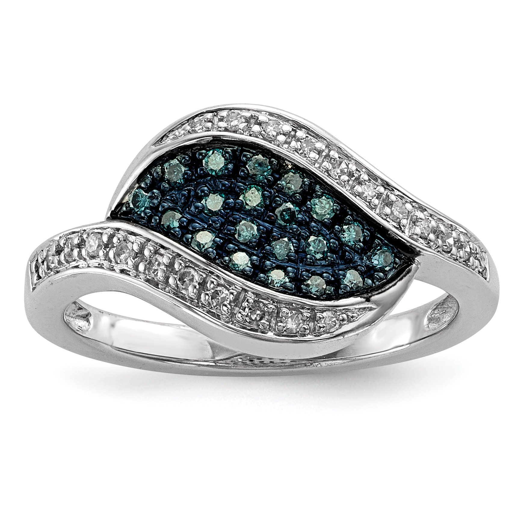 ICE CARATS 925 Sterling Silver Blue Diamond Marquise Band Ring Size 7.00 Fine Jewelry Gift Set For Women Heart