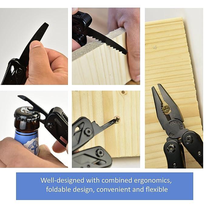 Alicate multifunción talismanprod 9 en 1 con 12 puntas de atornillar - Acero inoxidable - ligero y Compact - Ideal para el bricolaje, el Camping, ...