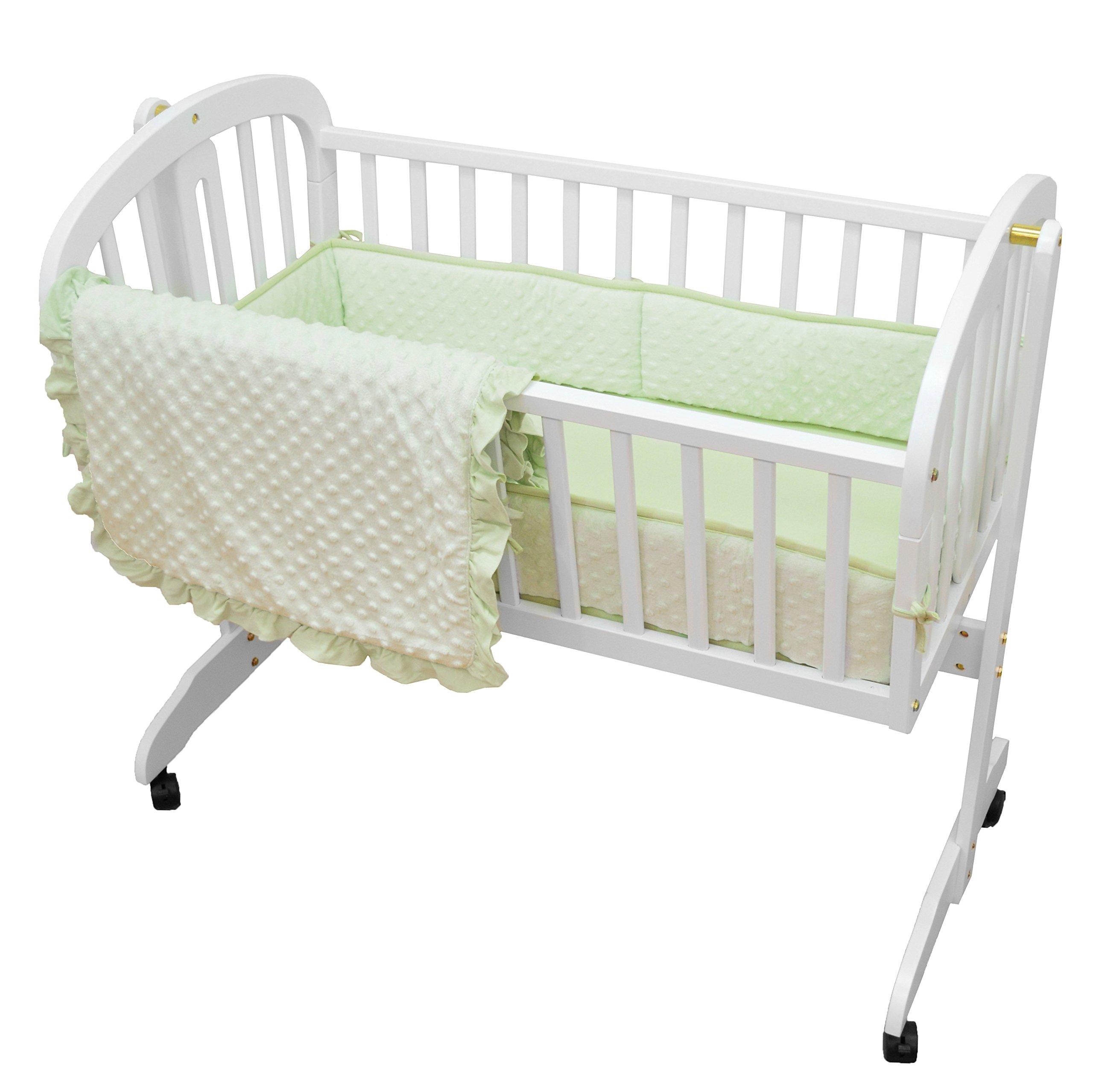TL Care Heavenly Soft Minky Dot 3 Piece Cradle Set, Celery