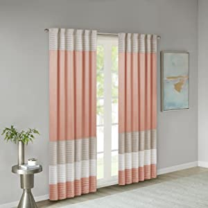 Madison Park Amherst Faux Silk Rod Pocket Curtain With Privacy Lining for Living Room, Window Drapes for Bedroom and Dorm, 50x84, Coral