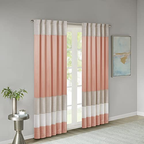 Madison Park Amherst Faux Silk Rod Pocket Curtain With Privacy Lining for Living Room, Window Drapes for Bedroom and Dorm, 50×84, Coral