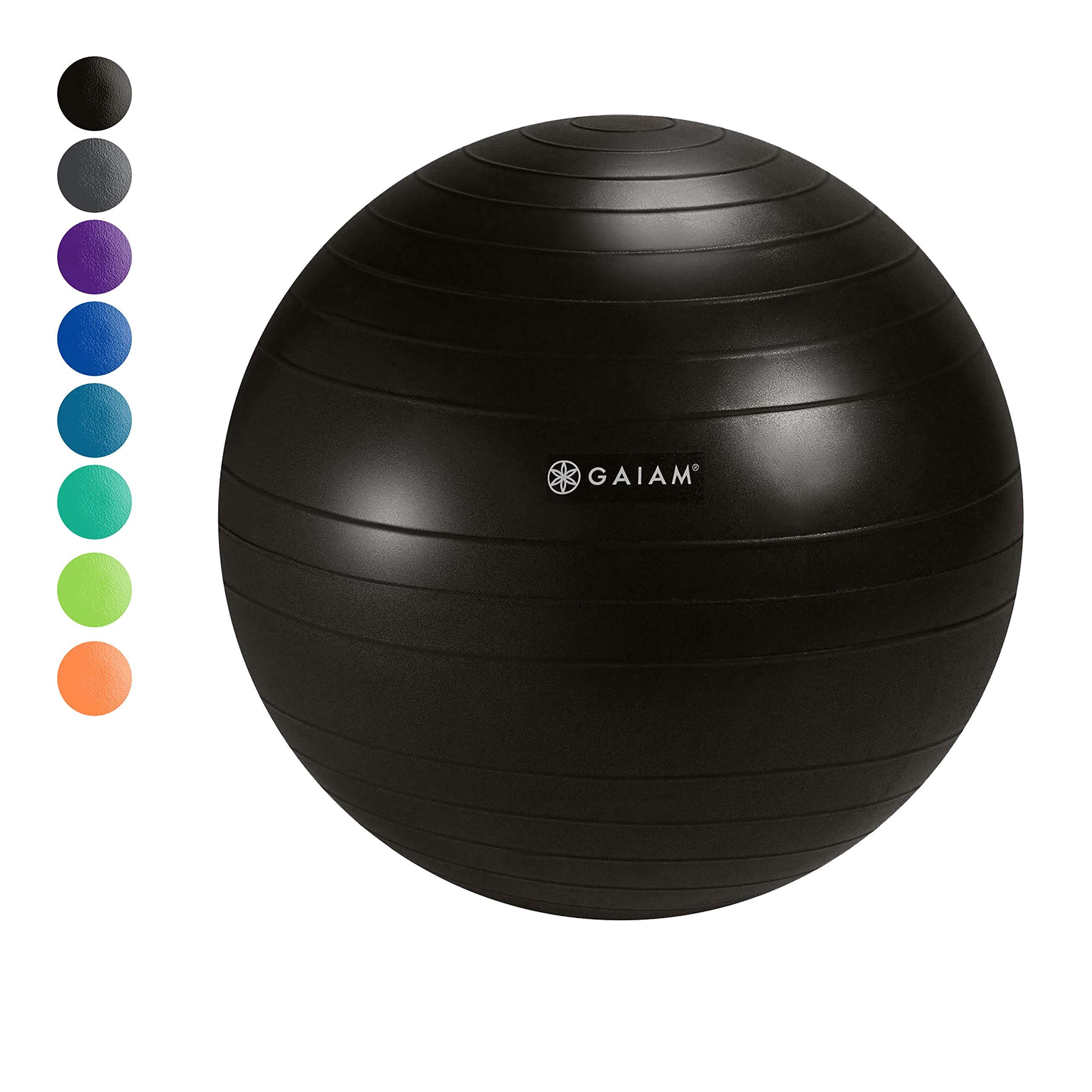 Gaiam Classic Balance Ball Chair Ball - Extra 52cm Balance Ball for Classic Balance Ball Chairs, Glossy Black, Hand pump included