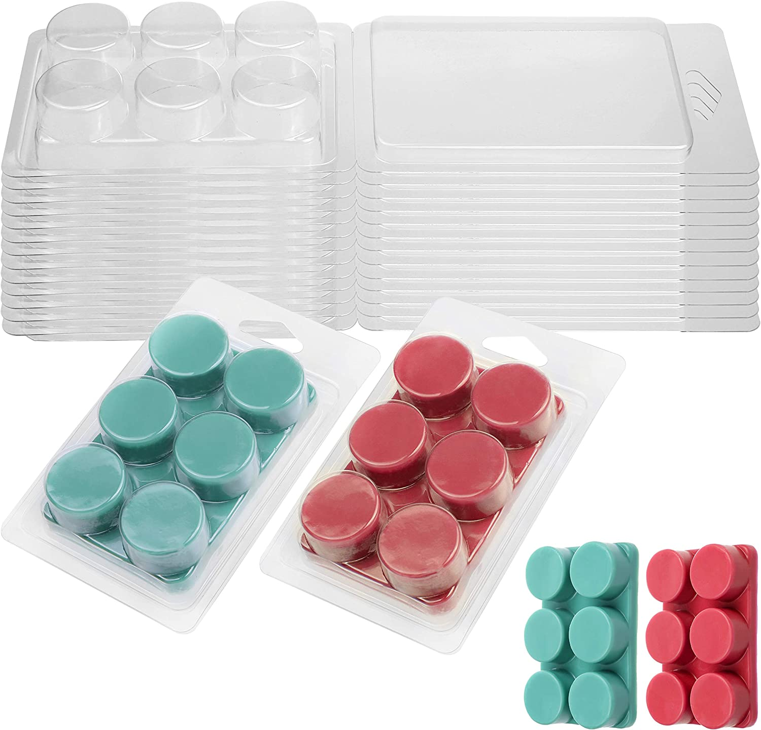 Wax Melt Containers-6 Cavity Clear Empty Plastic Wax Melt Molds-100 Packs Round Clamshells for Tarts Wax Melts.