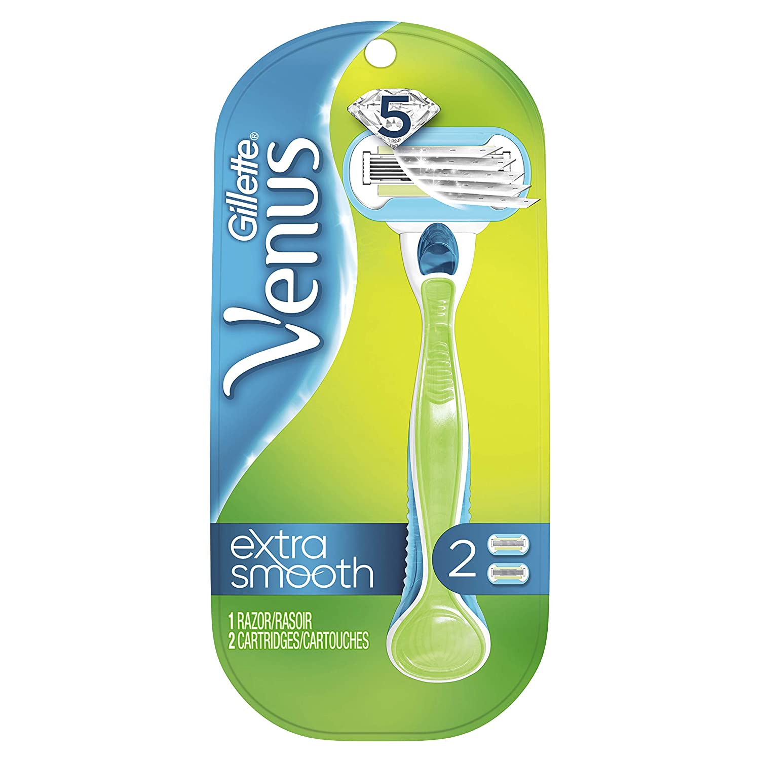Gillette Venus Extra Smooth Green Women's Razor- 1 Handle + 2 Refills (Packaging May Vary)