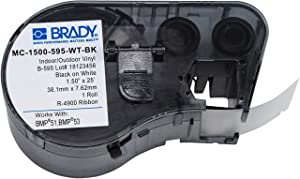 "Brady Official (MC-1500-595-WT-BK) High Adhesion Vinyl Label Tape, Black on White - Designed for BMP51 and BMP53 Label Printers - 25' Length, 1.5"" Width"