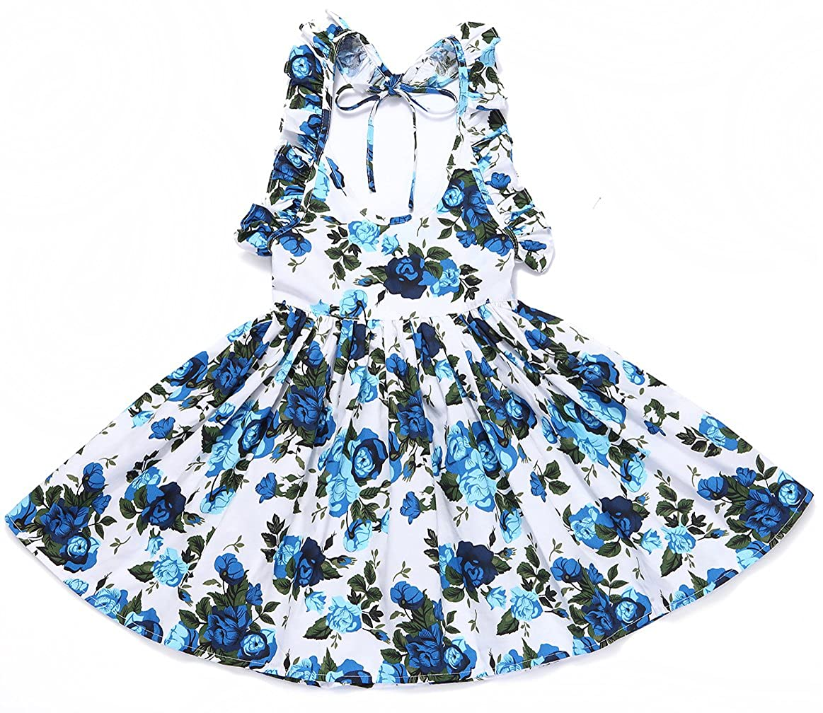 Amazon.com: Flofallzique Vintage Floral Blue Girls Dress Baby Backless  Easter Sundress Toddler Clothes: Clothing
