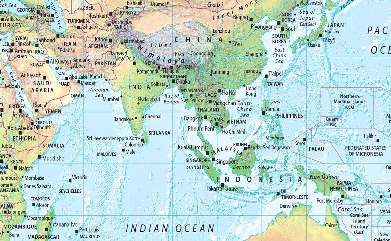 El mundo físico mapa - LAMINADO papel de color tamaño A2 42 x 59,4 cm: Amazon.es: Oficina y papelería