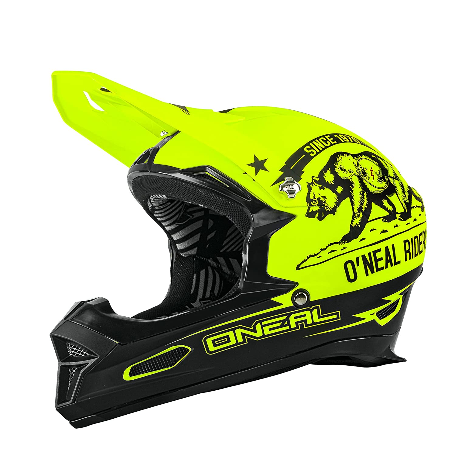 Amazon.com : Oneal Black-Neon Yellow 2016 Fury Fidlock DH RL California MTB Full Face Helmet : Sports & Outdoors