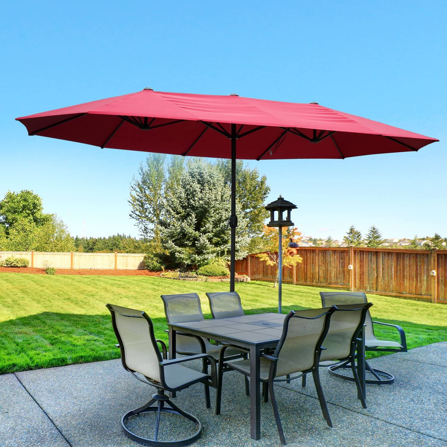 Outsunny 15 Outdoor Patio Umbrella with Twin Canopy Sunshade – Wine Red