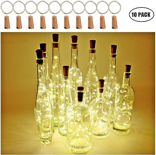 Botella de vino Luces con corcho, 2 metros con 20 LED Luces de ...