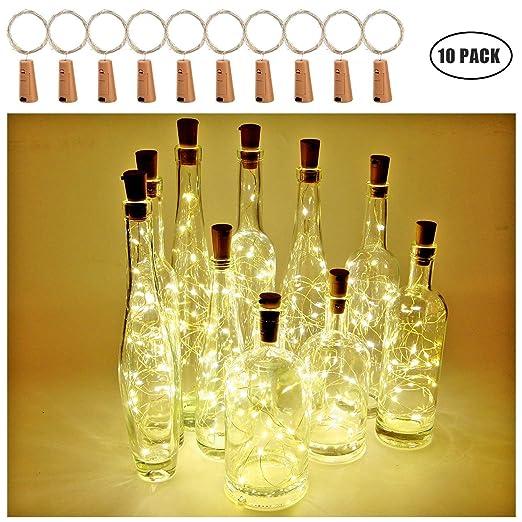 Botella de vino Luces con corcho, 2 metros con 20 LED Luces de cadena de alambre de cobre para botella Decoración de bricolaje, Bbq al aire libre, ...