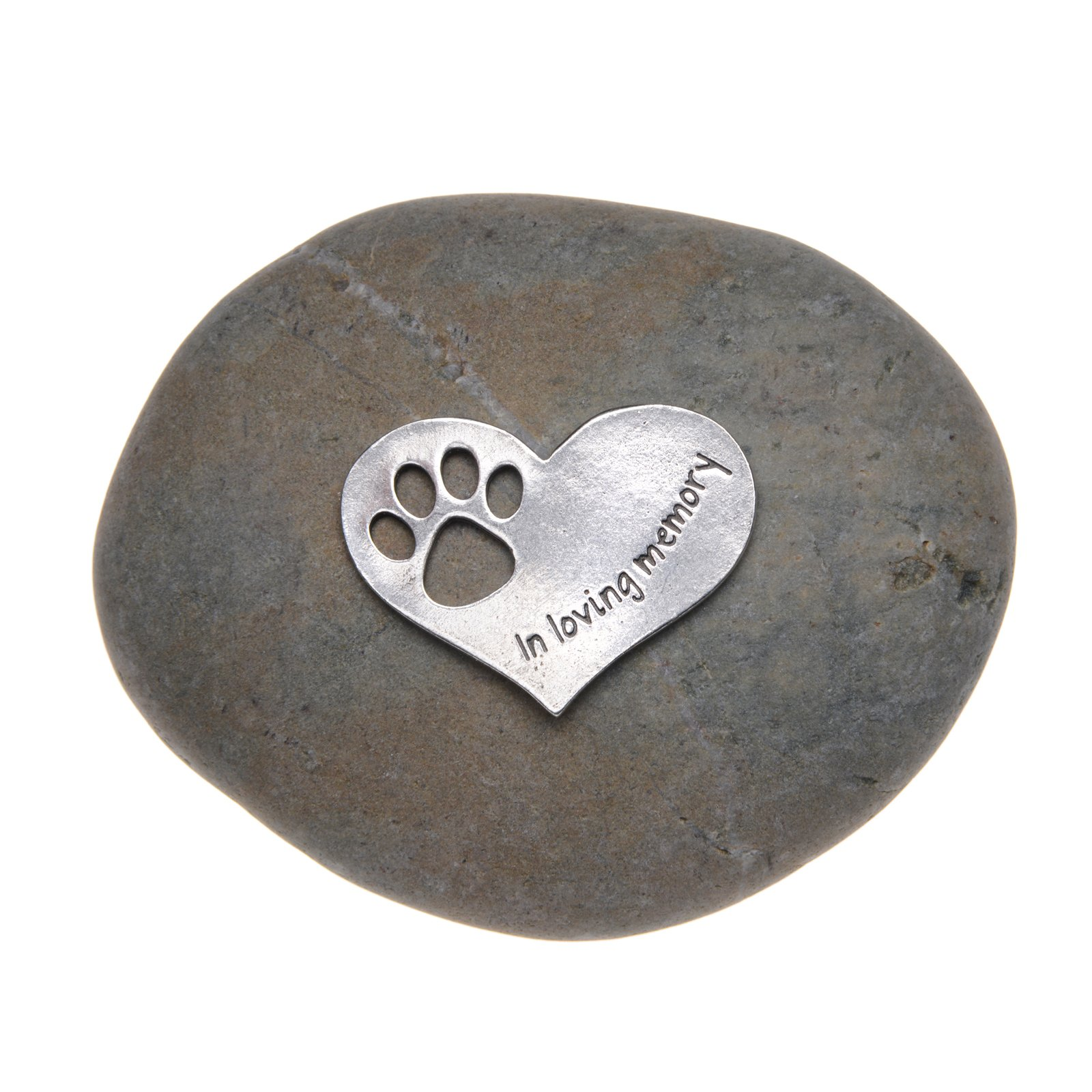 Pet Memorial In Loving Memory Paw Print Stone for Dogs or Cats - Sympathy Remembrance Stone by Whitney Howard Designs
