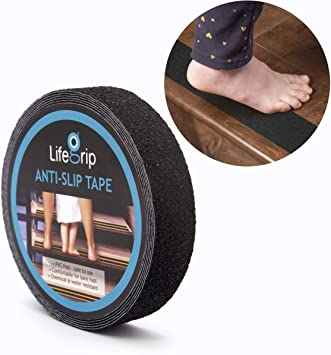 Black Comfortable for Bare Foot 1 X 30 Black LifeGrip Anti Slip Safety Tape Textured Rubber Surface Non Slip Stair Tread