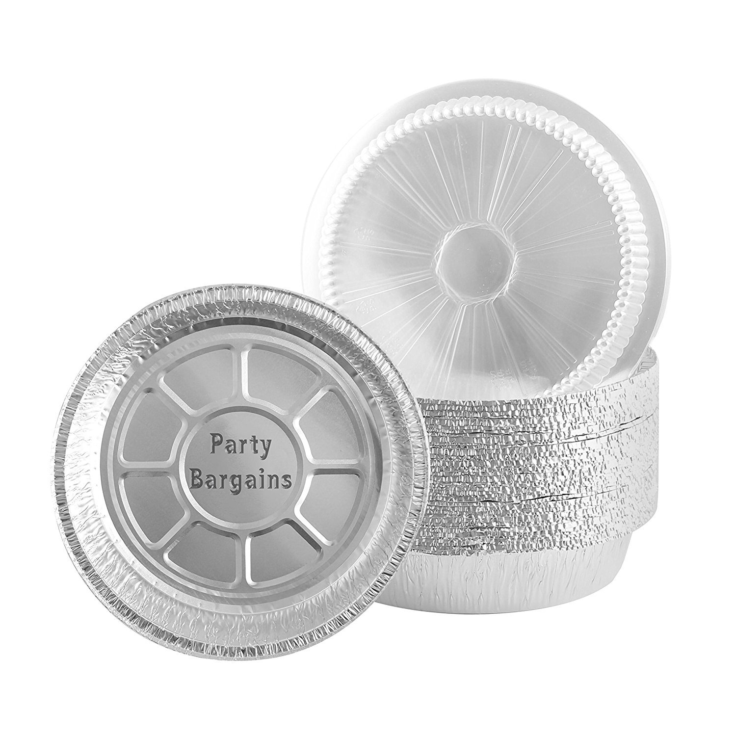 Jetfoil 9 Inch Round Disposable Aluminum Foil Pans With Clear Plastic Lids, Pack Of 40 Sets