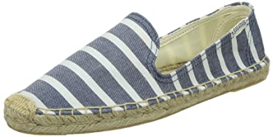 Soludos Women's Classic Stripe Smoking Slipper Flat, Light Navy/White, ...