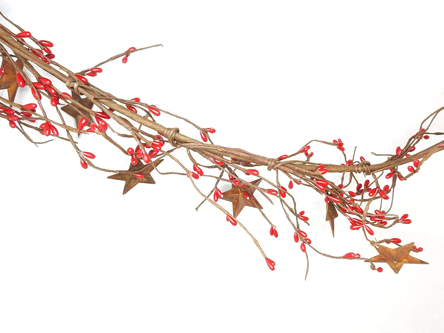 "Direct International Pip Berry Garland Burgundy Red with Rustic Barn Star 68"", Christmas Garland, Artificial Twig Primitive Country Home Decor Farmhouse Pip Berries"