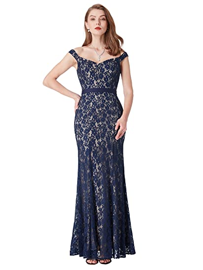 Ever Pretty Womens Sweetheart Floor Length Lace Sleeveless Bodycon Evening Dress 8 UK Navy Blue