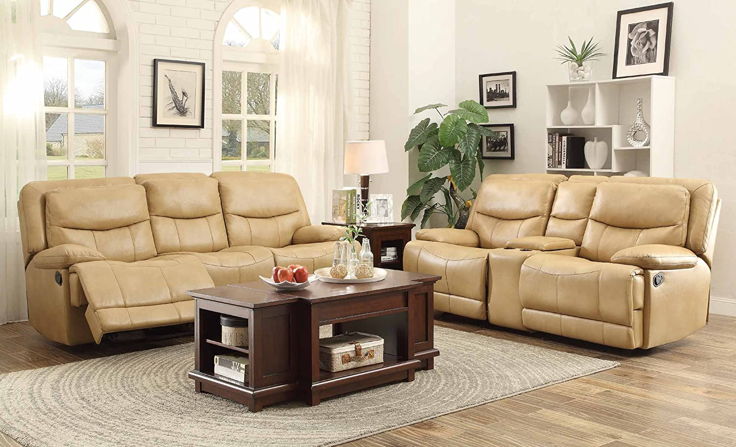 Amazon Com Homelegance 8599tpe 3 Double Reclining Sofa Taupe
