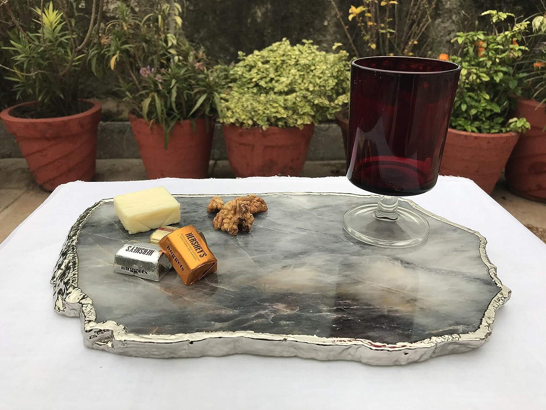 Grey Agate Quartz Cheese Platter//Tray
