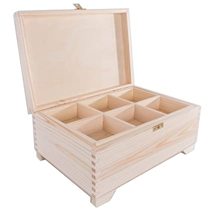 Searchbox Large Wooden Box With 6 Compartments And Claspxmas
