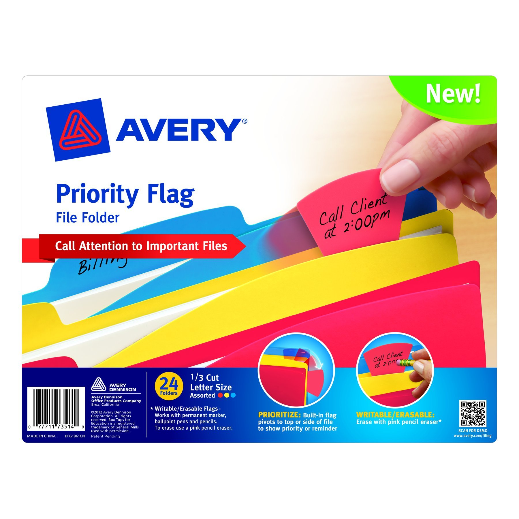 Avery Assorted Color File Folder with Priority Flag, 1/3 Cut, Letter Size, Pack of 24 (73514)