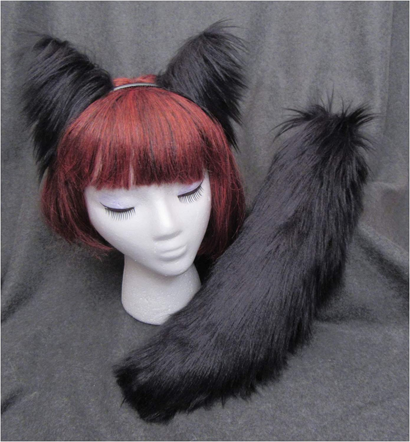 Tail Great Dog or Set-YOU CHOOSE-Soft Faux Fur Anime Kitty Black Cat Ears