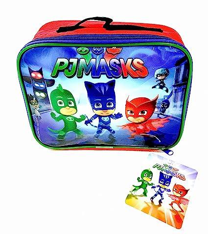 Bolsa para comida, para niños y niñas, diseño de personajes de los dibujos animados PJ Masks, para la guardería o el colegio, color azul: Amazon.es: Hogar