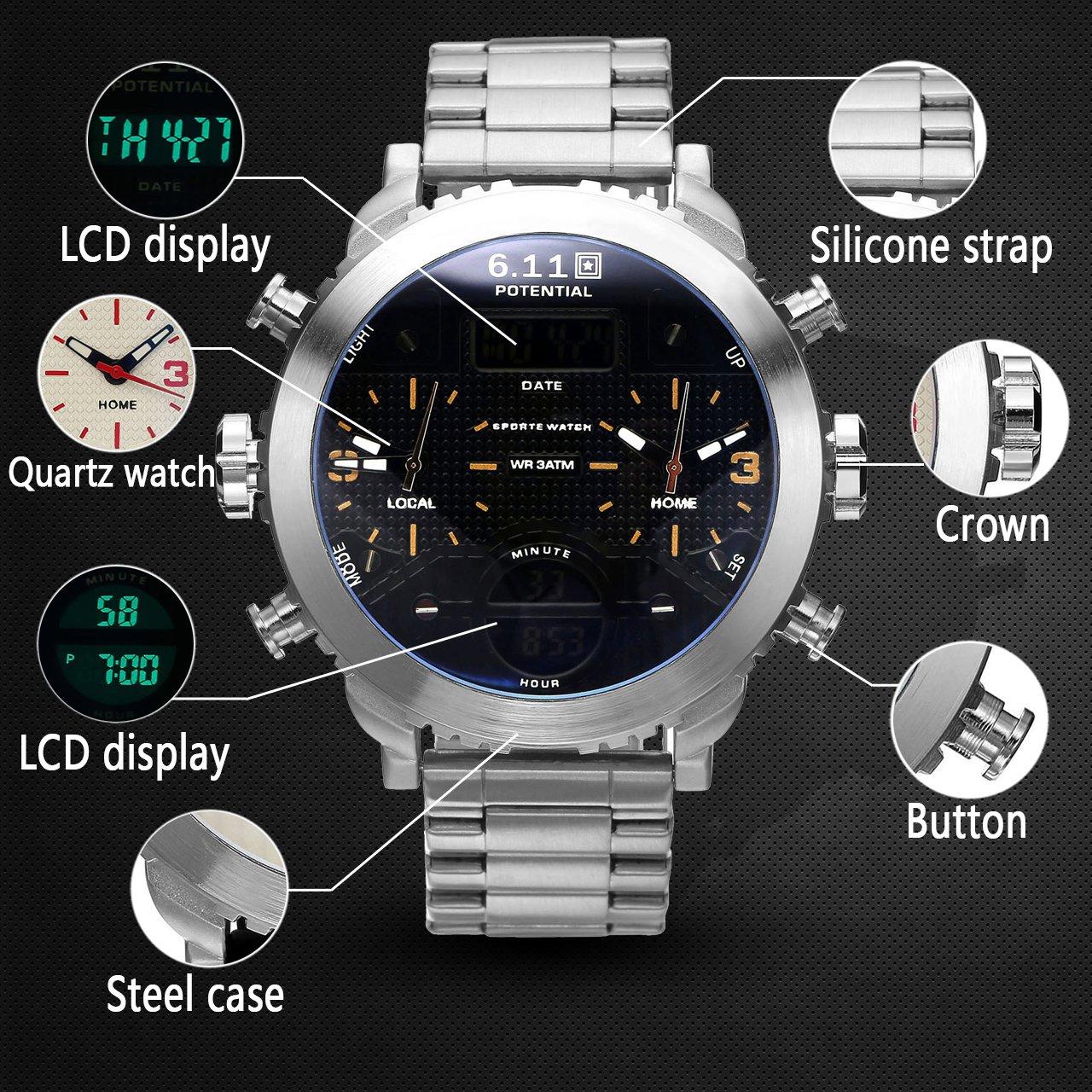 JSDDE Herren Armbanduhr Chronograph LCD Digital + Dual Quarz Uhrwerk Kalender 3-Zeitzone 3ATM Multifunktionsuhr (NO.QY25-09)