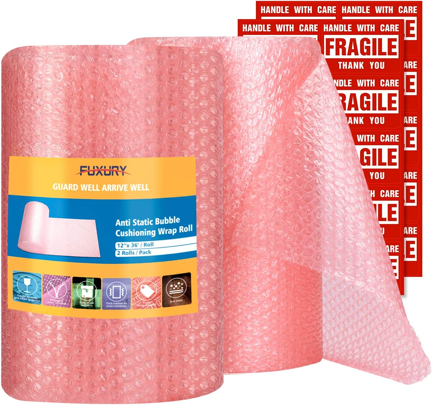 "Fuxury Pink Anti-Static Bubble Wrap Roll 12"" Bubble Cushioning Wrap Roll 2 Rolls 72 Feet Total,Perforated Every 12"",Included 20 Fragile Stickers for Packaging Moving Supplies"